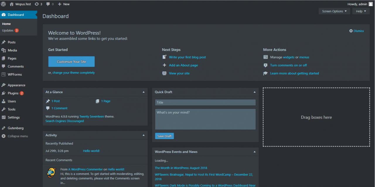 WordPress插件 - 仪表盘黑色模式上线