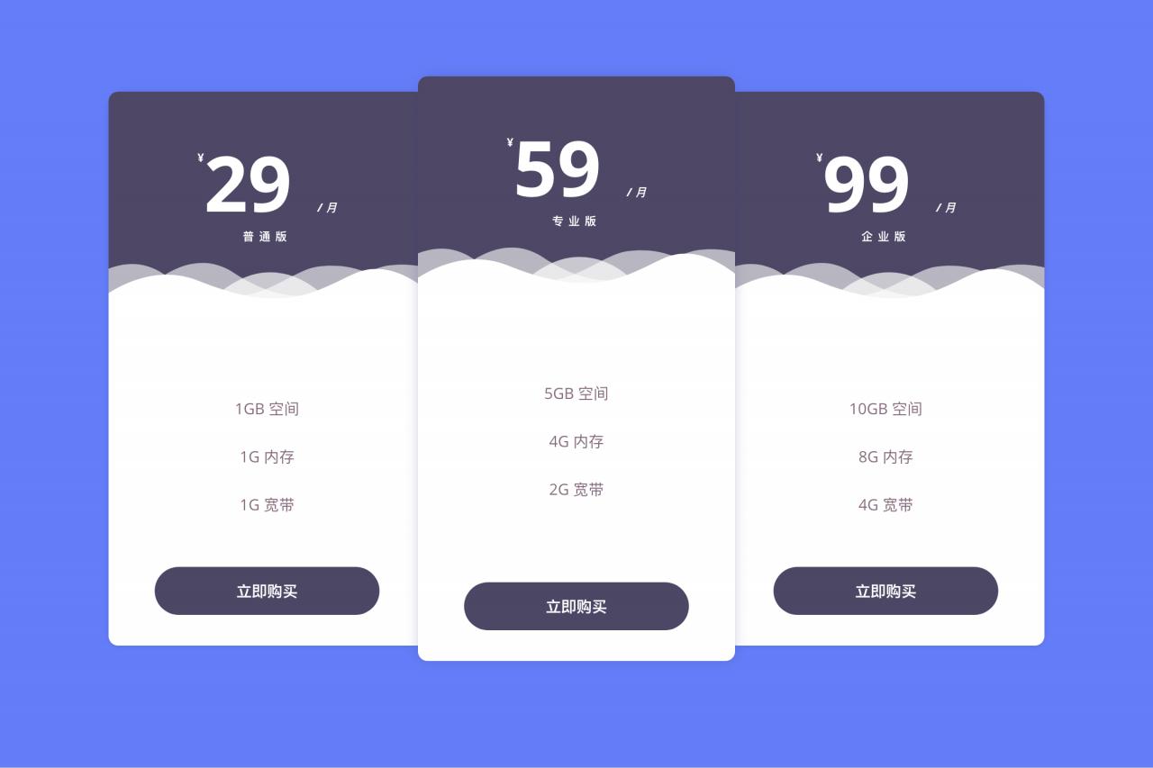 [代码样式]漂亮的套餐价格表