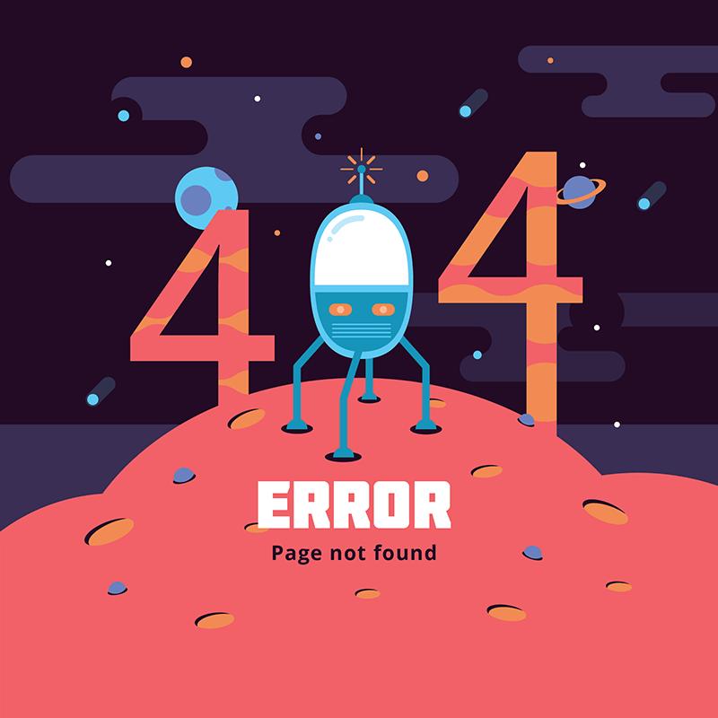 [代码样式]太空设计扁平404错误页面(EPS/AI)