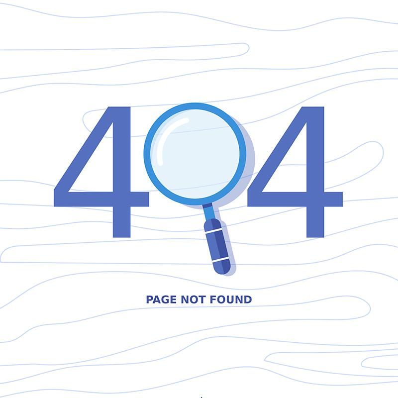 [代码样式]放大镜元素404错误页面设计(EPS/AI)