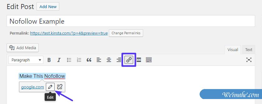 如何在WordPress中添加nofollow链接