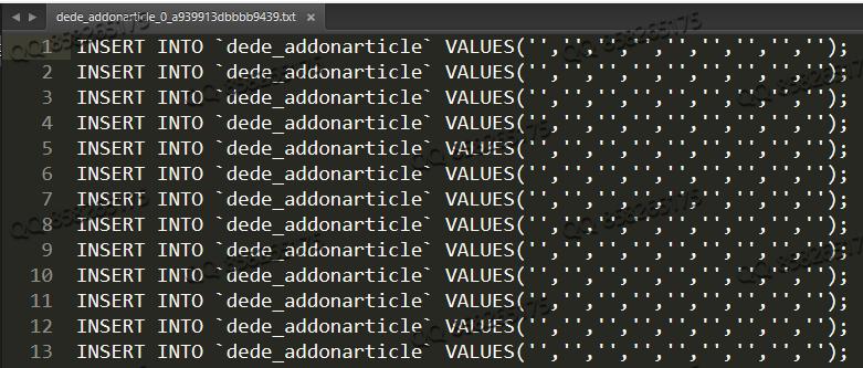 织梦dede在PHP7后台数据备份文件没有值空白