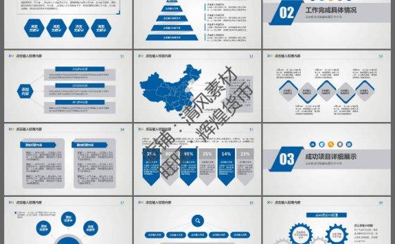 [PPT模板]34张蓝色述职报告工作总结PPT模板